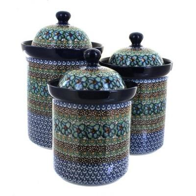 Blue Rose Polish Pottery Mardi Gras 3 Piece Canister Set