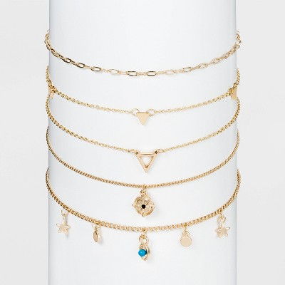 Star and Evil Eye Choker Chain Necklace Set 5pc - Wild Fable™ Gold