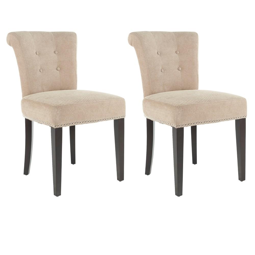 Sinclair Side Chair Wood/Dark Beige (Set of 2) - Safavieh