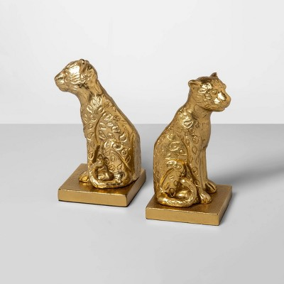 8.1  x 6.6  2pc Brass Jungle Cats Bookend Set Gold - Opalhouse™