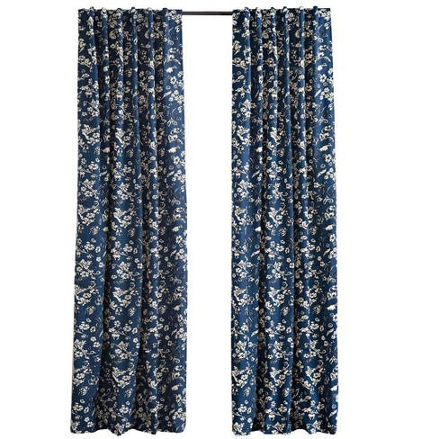 """Floral Damask Rod-Pocket Homespun Insulated Curtain, 42"""" W x 63"""" L - Plow & Hearth - image 1 of 2"""