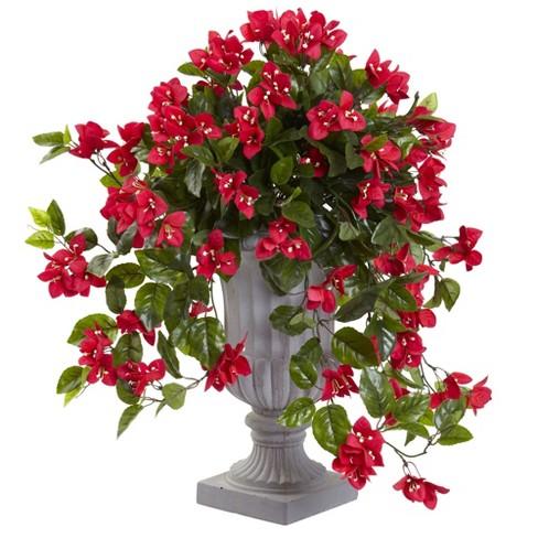 Bougainvillea Flowering Silk Plant With Decorative Urn Uv Resistant