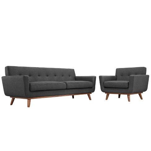 Engage Armchair and Sofa Set of 2 Gray - Modway - image 1 of 7