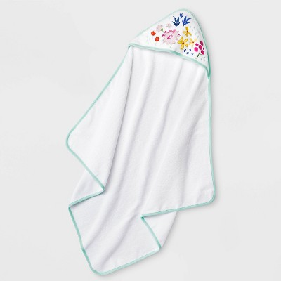 Baby Girls' Little Wild Flower Hooded Bath Towel - Cloud Island™ White One Size