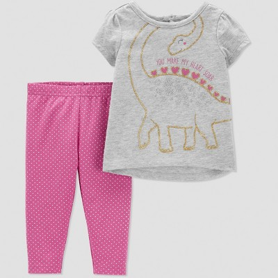 Baby Girls' 2pc Dino Leggings Set - Just One You® made by carter's Grey/Pink Newborn