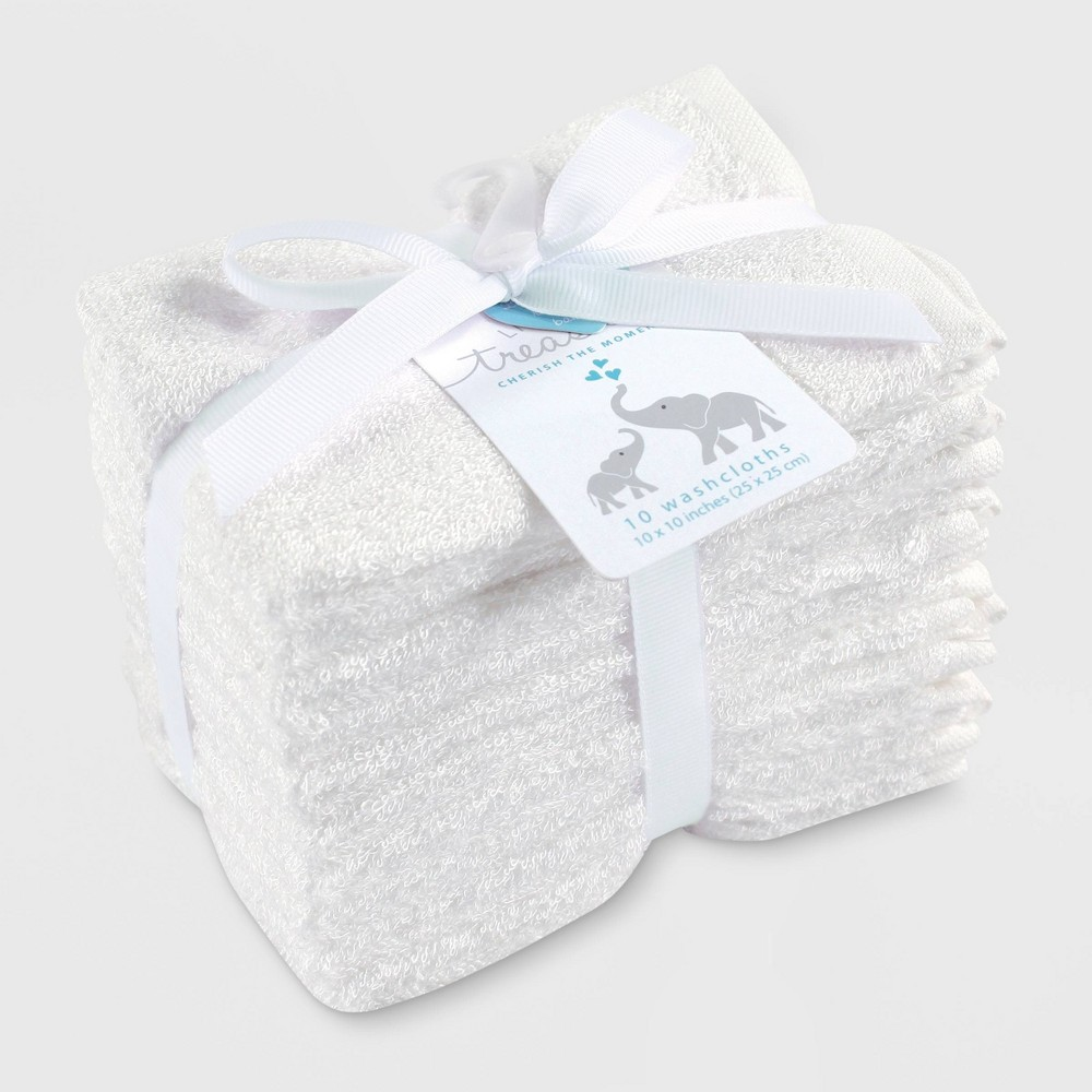 Image of Hudson Baby 10pk Rayon from Bamboo Washcloths - White One Size