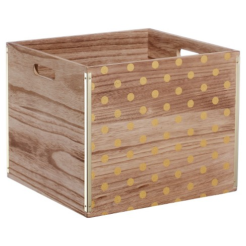 Wood Large Milk Crate Gold Dot - Room Essentials™ - image 1 of 2
