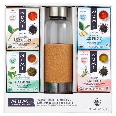 Numi Organic Tea Gift Set , Includes 16oz Glass Tea infusion Bottle with Strainer and 4 organic tea varieties (24 tea bags)