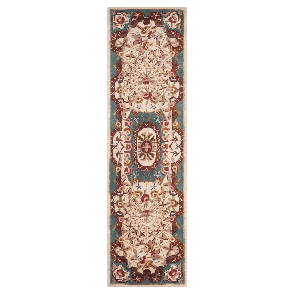 Ivory/Light Blue Abstract Tufted Runner - (2'3X10') - Safavieh