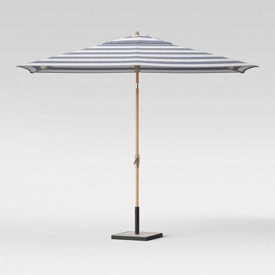 10' x 6' Rectangular Cabana Stripe Patio Umbrella - Light Wood Pole - Threshold™