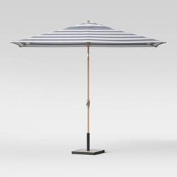 6.5' x 10' Rectangular Cabana Stripe Patio Umbrella - Light Wood Pole - Threshold™