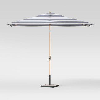 6.5' x 10' Rectangular Cabana Stripe Patio Umbrella Navy - Light Wood Pole - Threshold™
