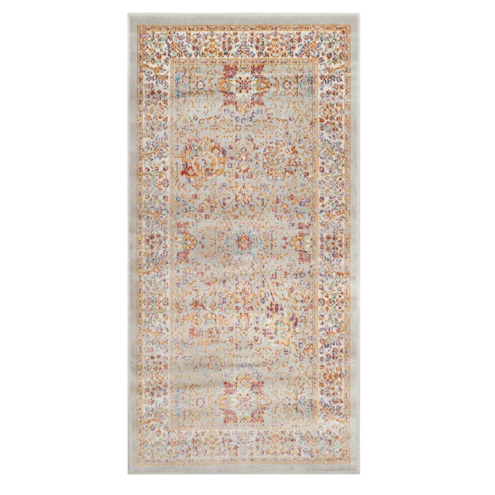 Silver Ivory Floral Loomed Accent Rug 2 1 X4 Safavieh