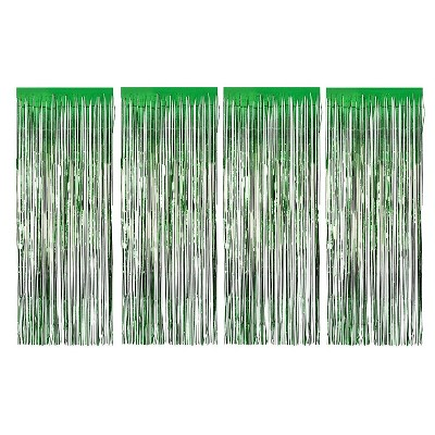 Juvale Green Foil Fringe Curtains - Metallic Tinsel Backdrop for Party Decorations (3 x 8 ft, 4 Pack)