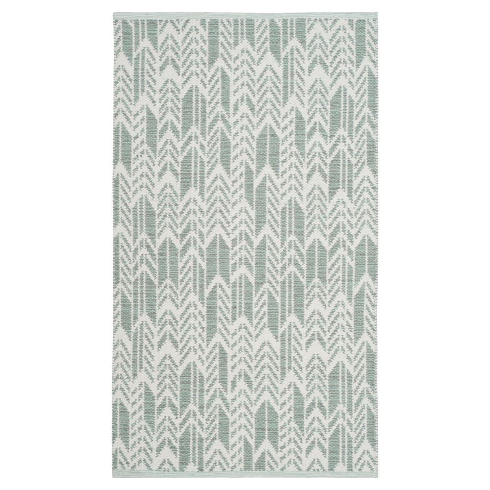 Light Green/Ivory Geometric Woven Accent Rug 3'X5' - Safavieh