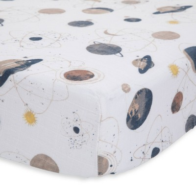 Little Unicorn Cotton Muslin Fitted Crib Sheet - Planetary