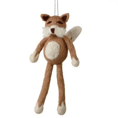 "Ganz 7"" Fuzzy Wildlife Friends Fox with Dangling Legs Christmas Ornament - Brown"