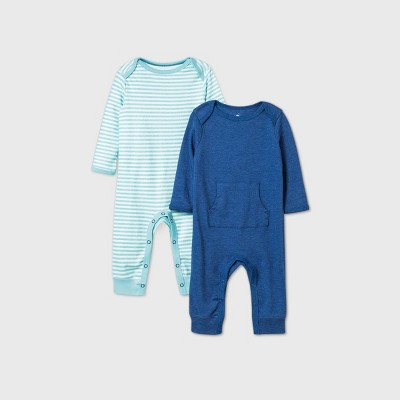Baby Boys' 2pk Romper - Cloud Island™ Navy 0-3M