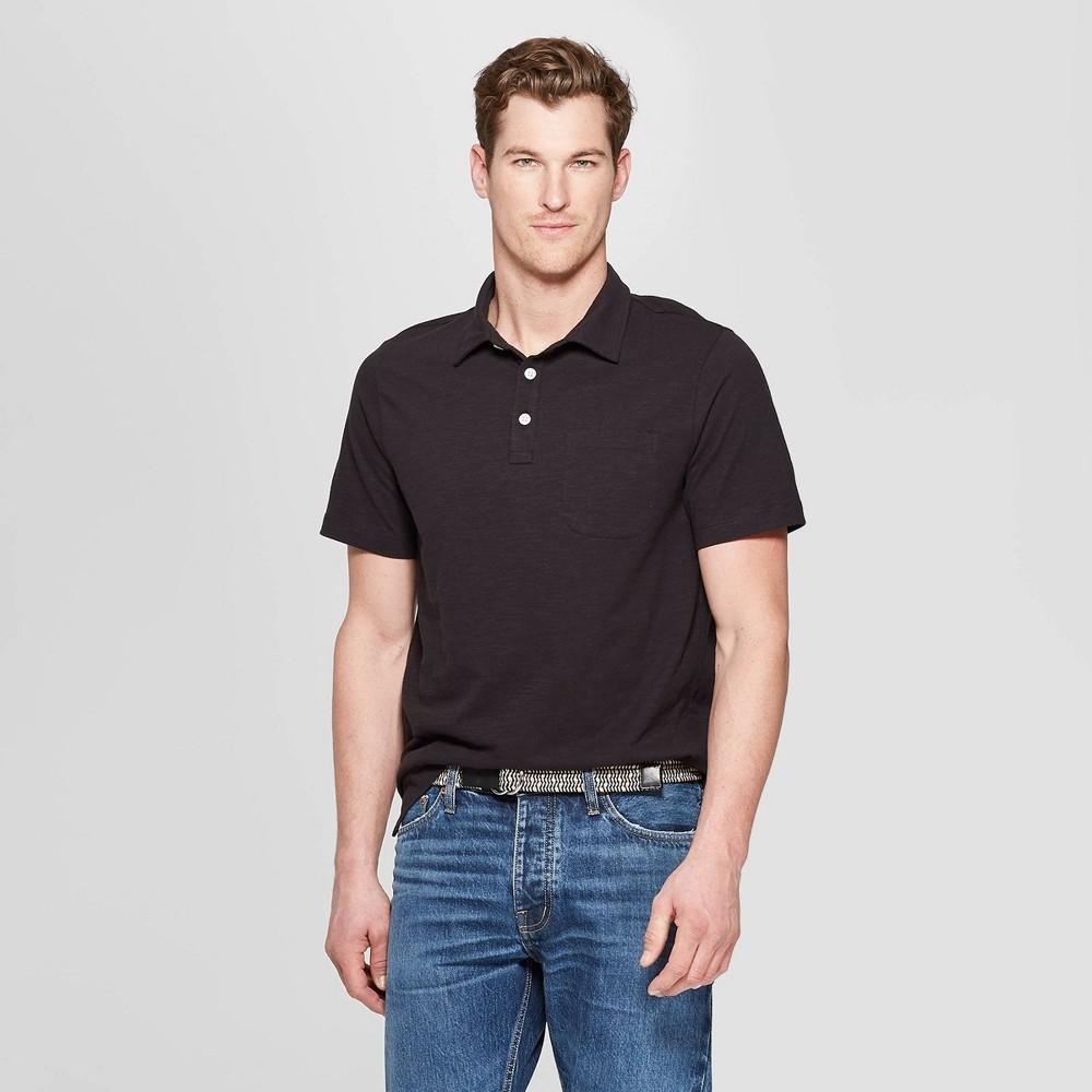3396c2f4 Mens Regular Fit Short Sleeve Jersey Polo Shirt Goodfellow Co Black S