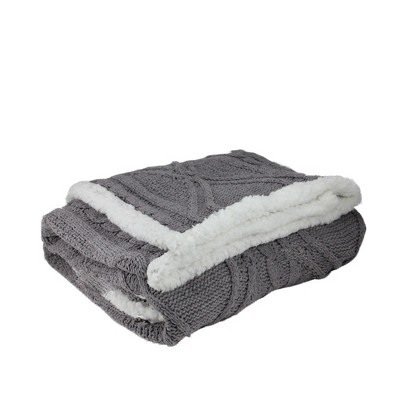 "Northlight 50"" x 60"" Cable Knit Plush Sherpa Throw Blanket - Gray/White"