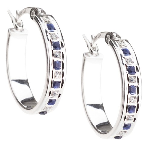 Platinum Over Sterling Silver Diamond & Sapphire Accent Oval Hoop Earrings - White - image 1 of 1