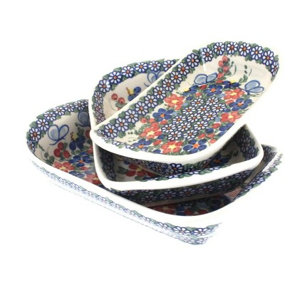 Blue Rose Polish Pottery Garden Butterfly 3 Piece Rectangular Tray Set