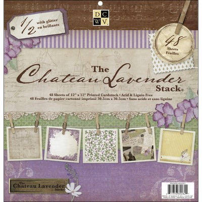 """DCWV Single-Sided Cardstock Stack 12""""X12"""" 48/Pkg-Chateau Lavender, 24 Designs/2 Each"""