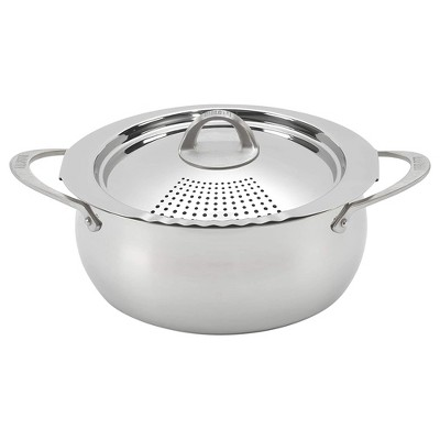 Bialetti 7593 2 In 1 Stainless Steel 6 Quart Oval Shaped Kitchen Pasta Pot with Lockable Strainer Lid and Secure Grip Handles, Silver