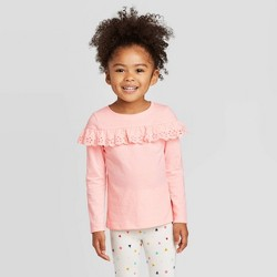 Toddler Girls' Long Sleeve Eyelet T-Shirt - Cat & Jack™ Pink