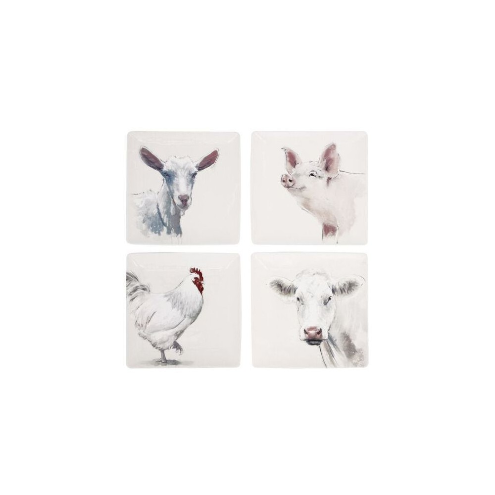 Farm Animals Stoneware Plates (4 pack) - 3R Studios, Ivory