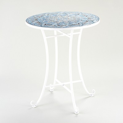 Lakeside Metal Folding Patio Table with Decorative Tile Mosaic