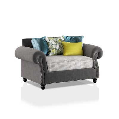 Briarcliffe Upholstered Loveseat Gray/Beige/Teal/Olive - HOMES: Inside + Out