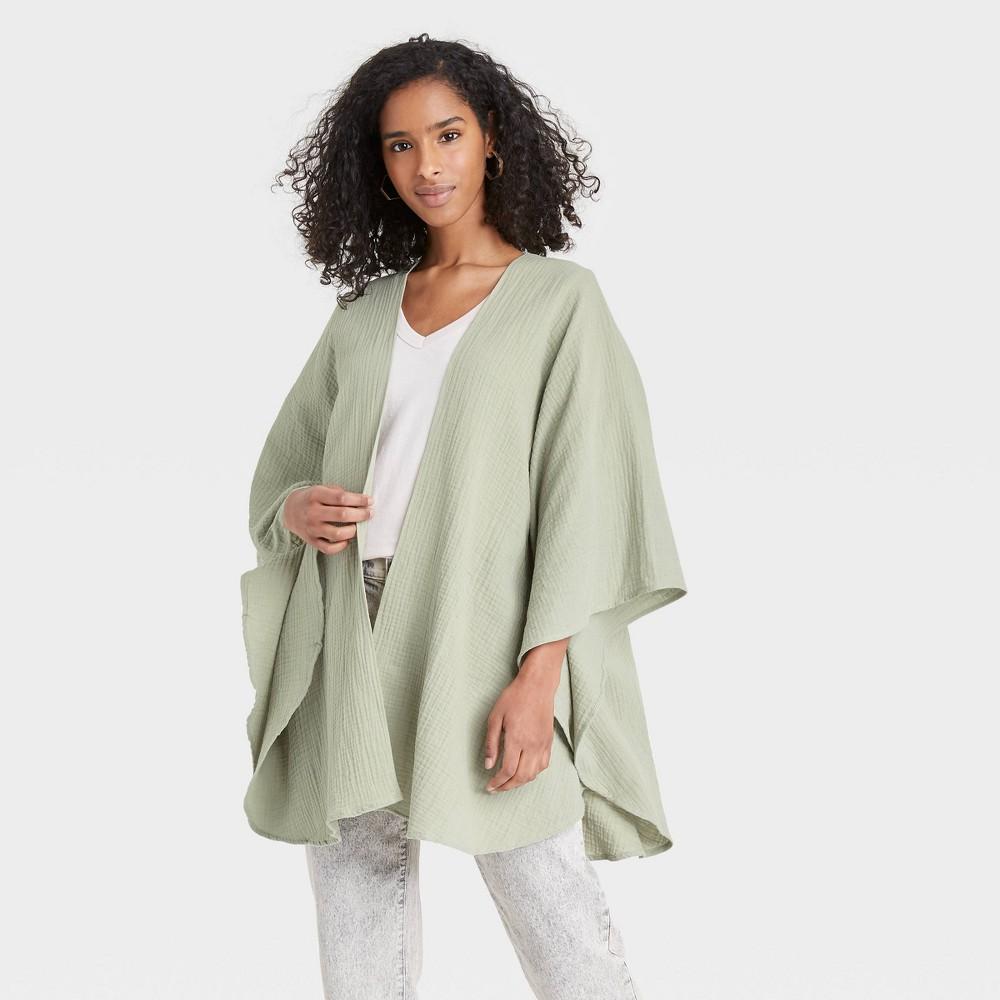 Women 39 S Gauze Ruana Wrap Jacket Universal Thread 8482 Green One Size