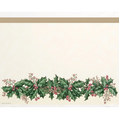 Winter Holly Plastic Tablecloth Ivory