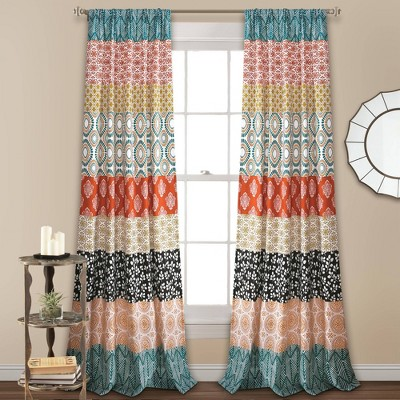 Set of 2 Bohemian Striped Light Filtering Window Curtain Panels - Lush Décor