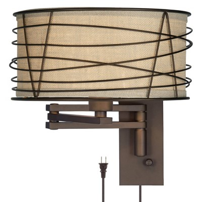Franklin Iron Works Rustic Farmhouse Swing Arm Wall Lamp Bronze Plug-In Light Fixture Wire Cage Burlap Drum Shade Bedroom Bedside