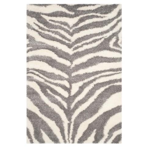 Ivory/Gray Zebra Stripe Loomed Area Rug
