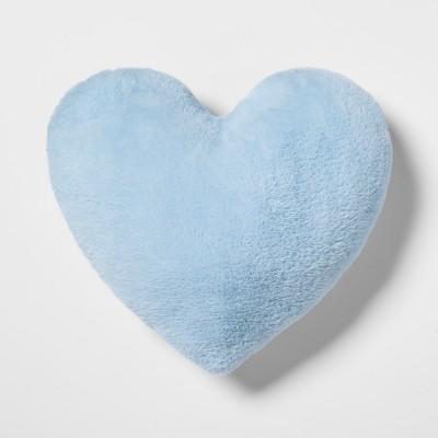 Heart Faux Fur & Velvet Throw Pillow Blue - Pillowfort™