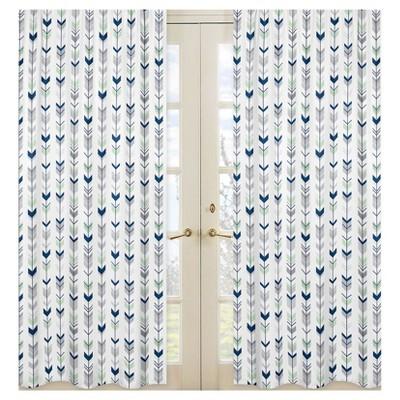 Sweet Jojo Designs Window Panels - Navy & Mint Mod Arrow - 2pk