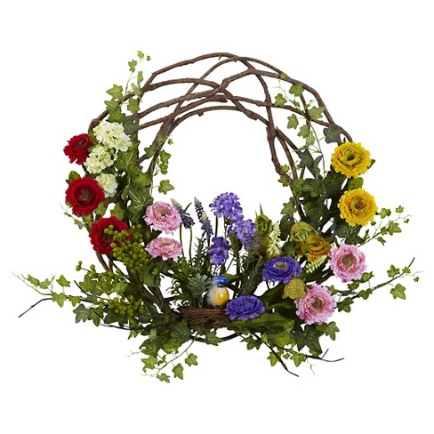 """Nearly Natural Spring Floral Wreath (22"""") - image 1 of 1"""
