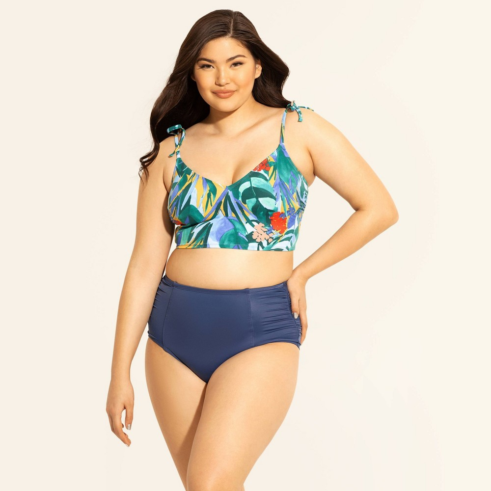 0d9d4d890 Womens Slimming Control Tie Shoulder Bikini Top Beach Betty by Miracle  Brands Yellow Tropical L Blue