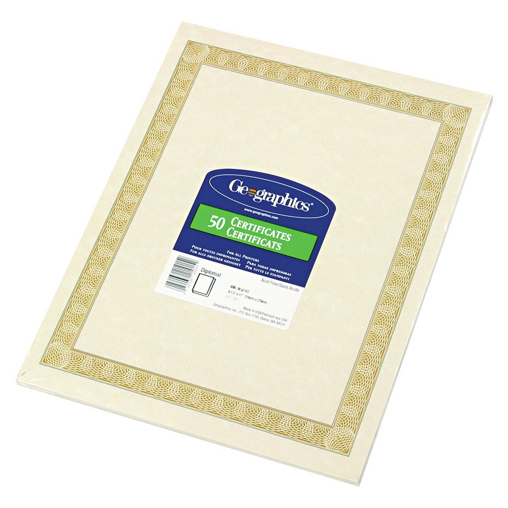 Geographics Parchment Paper Certificates, 8-1/2 x 11, Natural Diplomat Border, 50/Pack, Off White