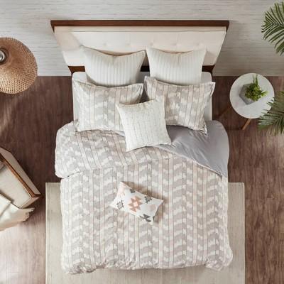 Full/Queen Suri Cotton Jacquard Comforter Set - Gray/Blush