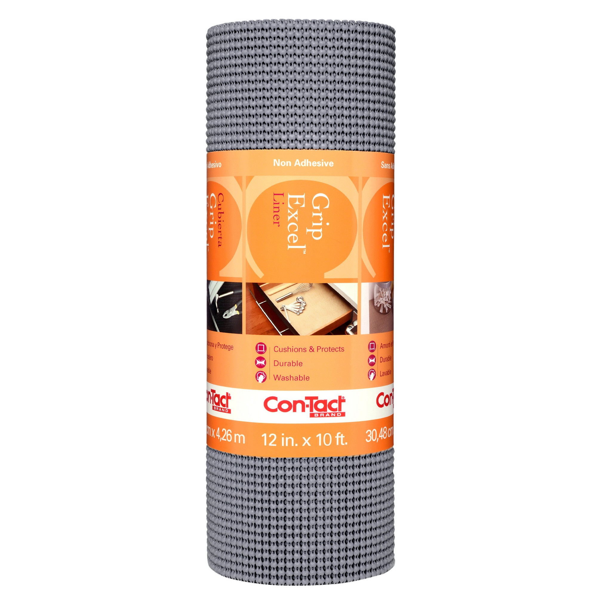 Con-Tact Brand Grip Premium Non-Adhesive Shelf Liner Excel Grip Alloy Gray (12''x10')