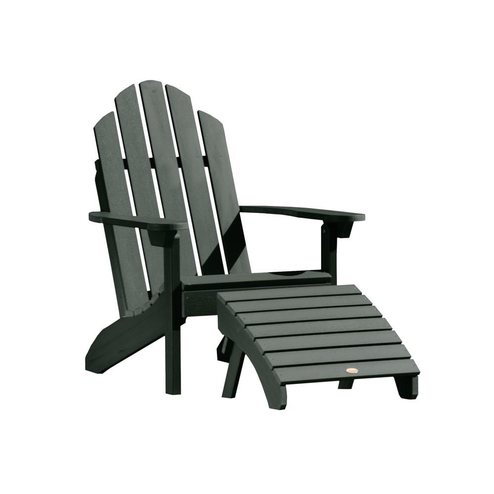 Classic Westport Adirondack Chair with Folding Adirondack Ottoman Charleston Green - Highwood