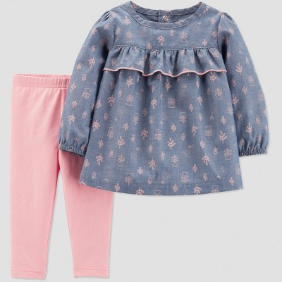Baby Girls' 2pc Chambray Cactus Pant Set - Just One You® made by carter's Pink/Blue 3M