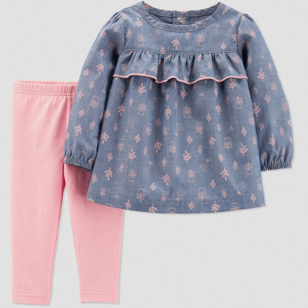 Baby Girls' 2pc Chambray Cactus Pant Set - Just One You made by carter's Pink/Blue 12M