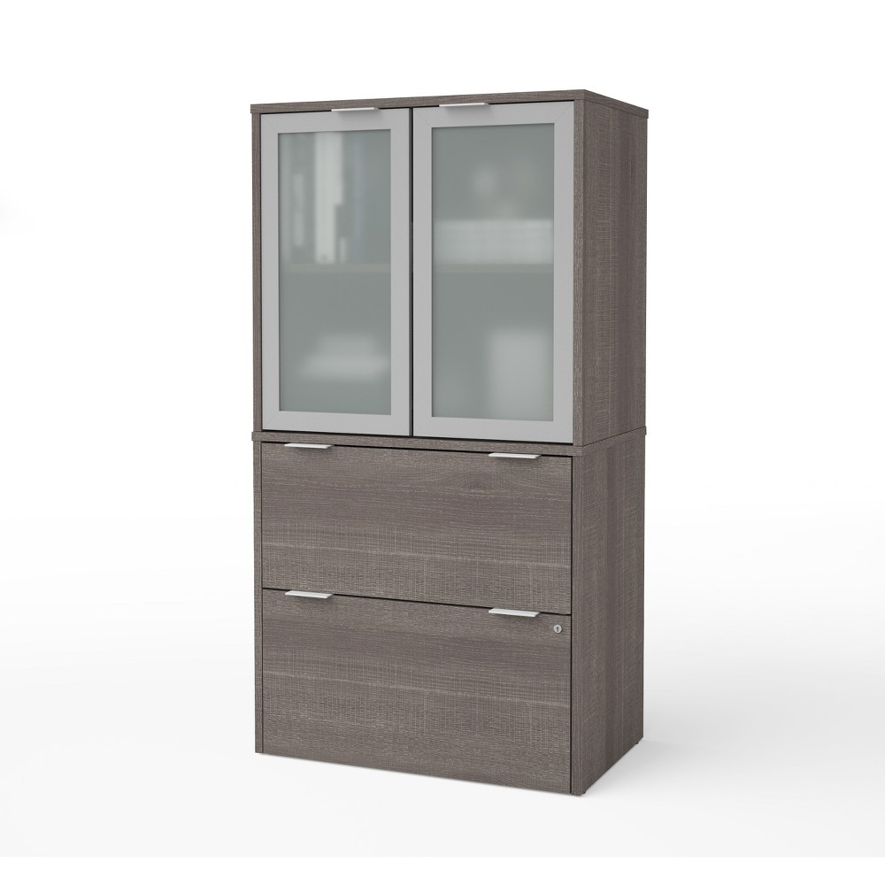 Image of 2 Drawer I3 Plus File Cabinet with Storage Bark Gray - Bestar, Brown Gray