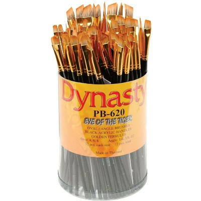 Dynasty PB-620 Eye of the Tiger Synthetic Hair Acrylic Handle Paint Brush Set, Assorted Size, Black, set of 72