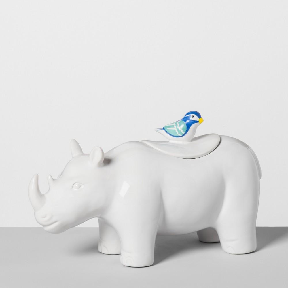 Rhino Ceramic Cookie Jar White - Opalhouse
